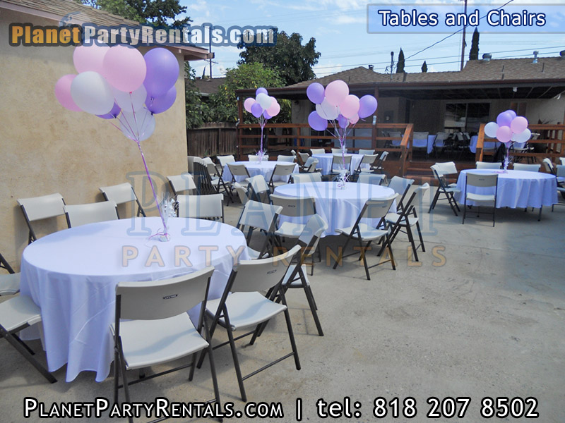 High quality Rectangular and Round tables and chairs for rent, rectangular tables and chairs, linen table cloths available for rent, rentals available in the valley, we carry canopy and tents for rent