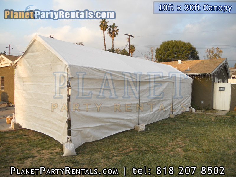 10ft x 30 ft Canopy with tables and chair party rental equipment in the valley van nuys mission hills   north hills encino sherman oaks arleta free delivery | Patio Heaters Chafing Dishes Table Cloths   Bathrooms Tents & Canopys