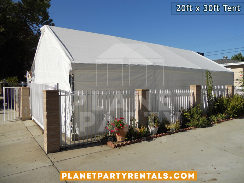 20x30 White Party Tent shown with sidewalls