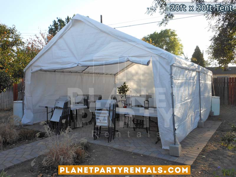20ft x 20ft white party tent with sidewalls rectangular table and plastic white chairs & 20ft x 20ft Tent | Party Rentals|Tents|Tables|Chairs|Jumpers ...