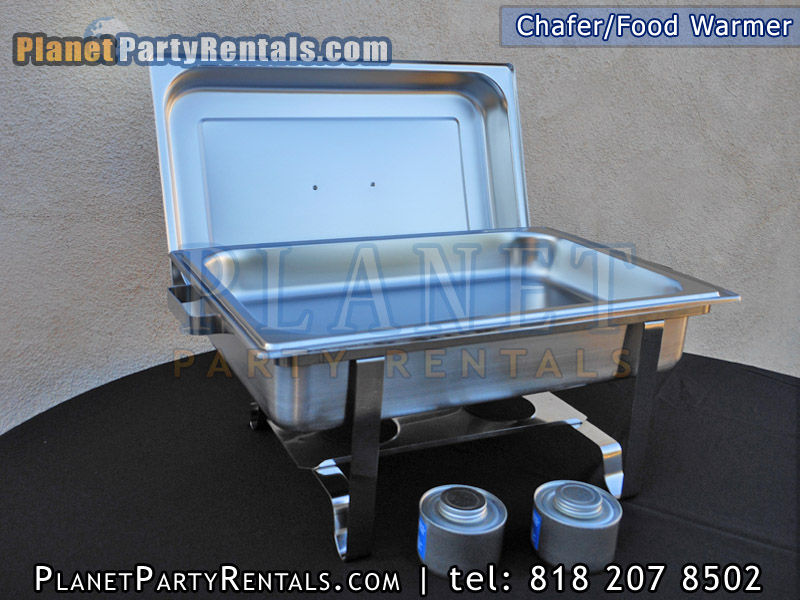Chafer / Food Warmer for rent. The Chafing Dish is a 8 Quart full size rectangular steel chafer.The Chafing Dish includes a full steam pan, full size rectangular water pan, the lid and dual fuel holders to keep your food warm for several hours.  The rental of the Chafer/Food Warmer is for the entire day. The Chafer/Food Warmer is picked up the same day or the following day, the delivery personnel wisk ask you when the equipment is to be picked up.