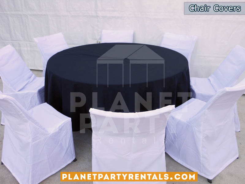 white chair covers with round black table cloth | San Fernando Valley linen rentals