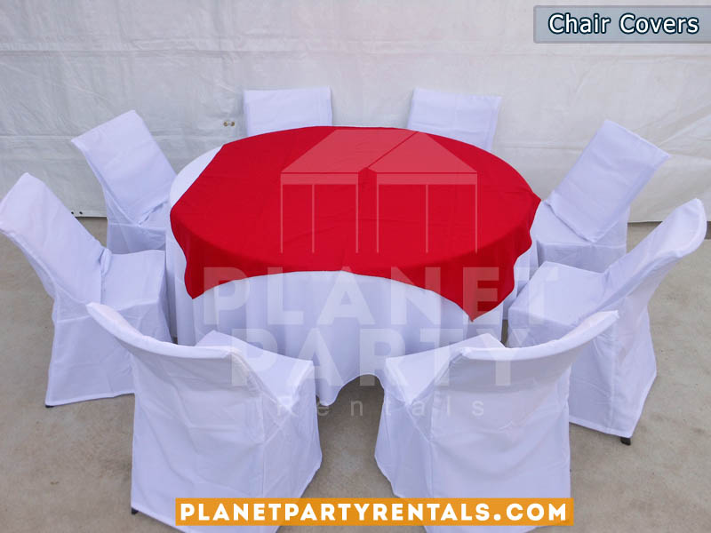 white chair covers with round table cloth with white table cloth and red overlay/runner | San Fernando Valley table cloth rentals