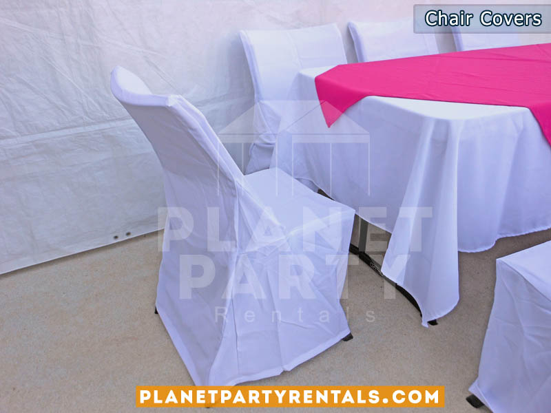 white chair covers with white rectangular table cloth with pink overlay/runner | San Fernando Valley table cloth rentals