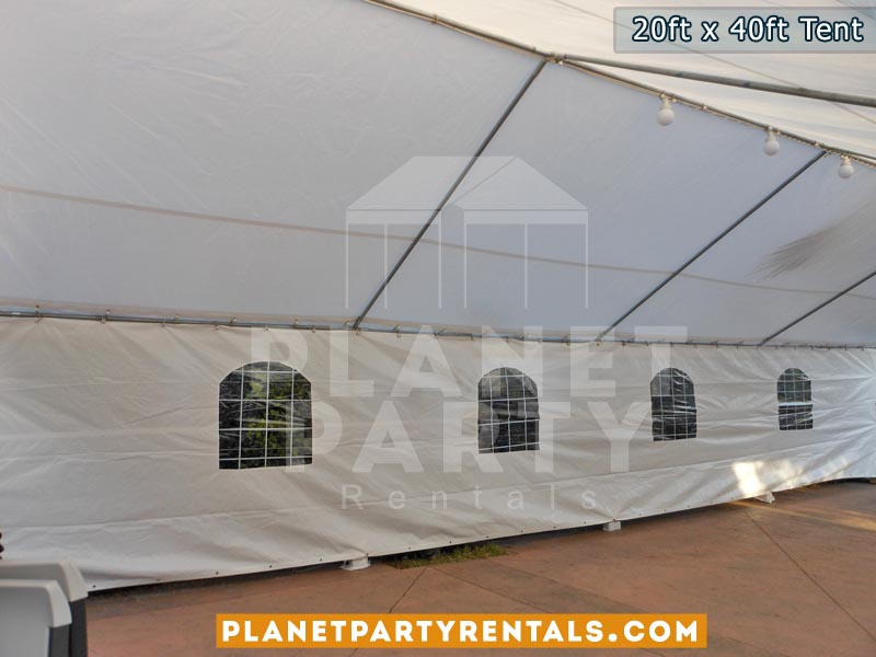 20ft x 40ft white party tent | party tent packages available | van nuys reseda northridge north hollywood encino party rentals