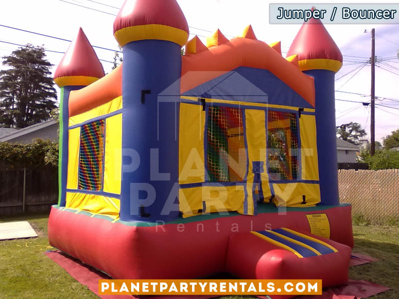 Bouncer/Jumper rentals | Multicolored jumper available for rent | Jumper packages available with tables and chairs