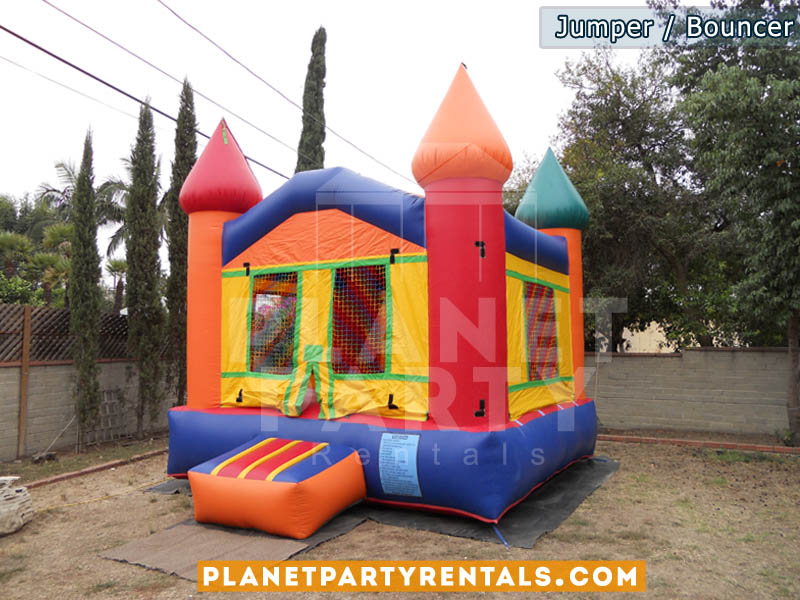 Bouncer/Jumper rentals | Multicolored jumpers available for rent | Jumper packages available with tables and chairs
