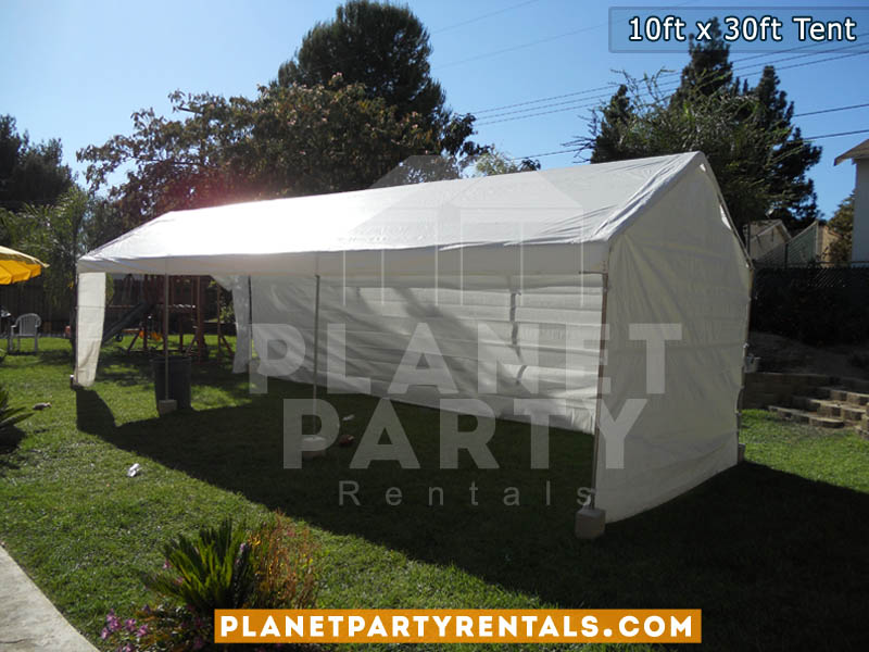 10ft x 30ft Party Tent (White) shown with sidepanels