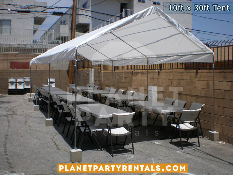 10ft x 30ft White Party Tent | Tent Packages available with tables and chairs