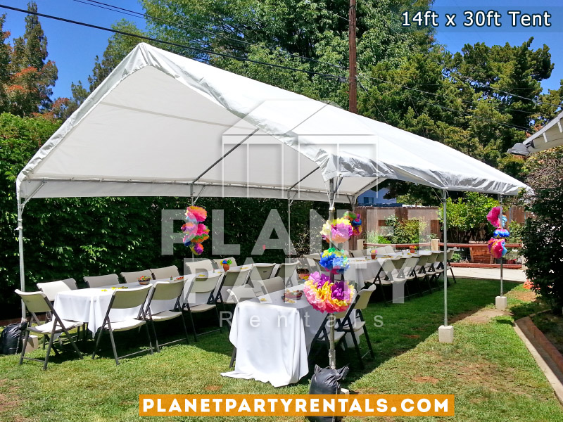 14ft x 30ft White Party Tent Rent shown with rectangular tables and plastic chairs