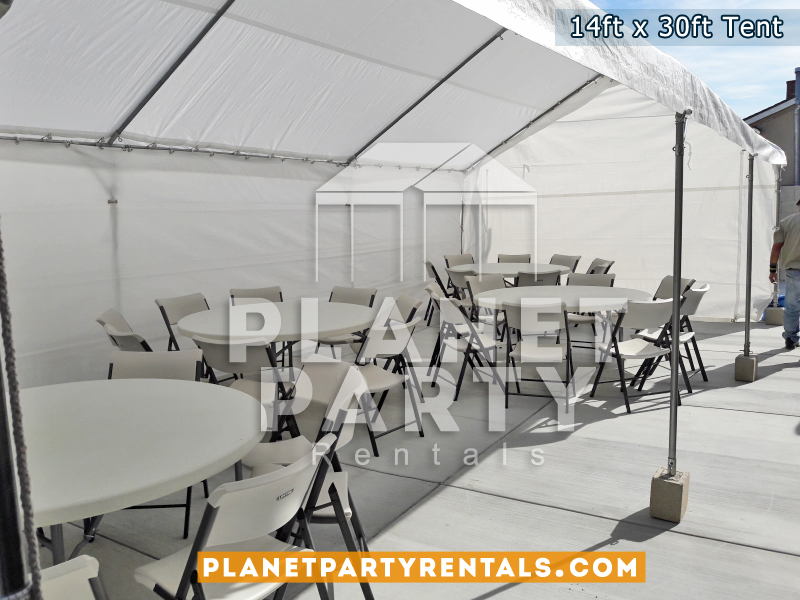 14ft x 30ft White Party Tent Rent shown with round tables and plastic chairs