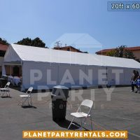 20x60 Large White Party Tent shown with Sidewalls/Panels