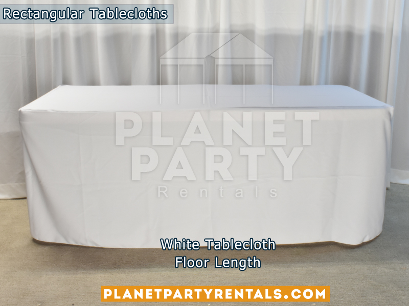 Rectangular Tablecloth Floor Length Color: White