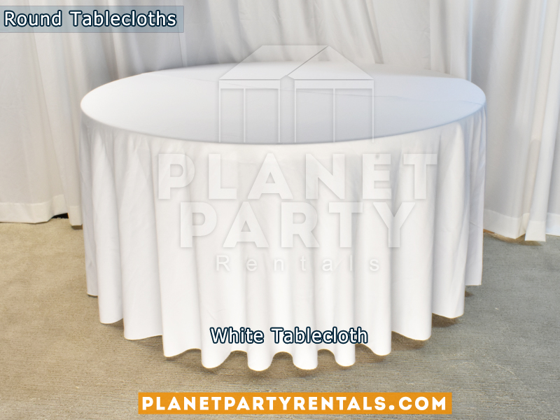 Round Tablecloth color White