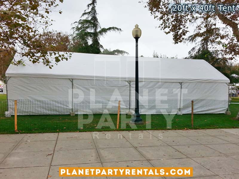 20x40 Tent fully enclosed with all sidepanels setup on grass.