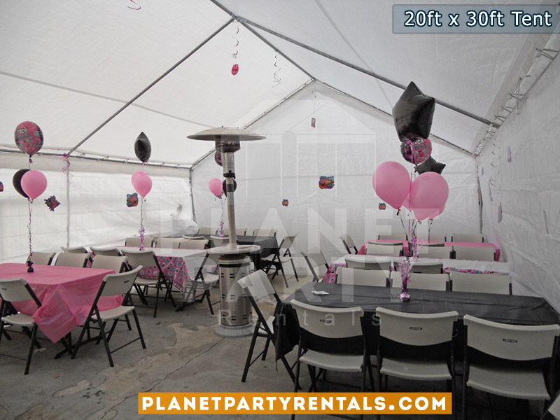 20x30 Tent setup on cement. Also pictured are rectangular tables and plastic chairs.